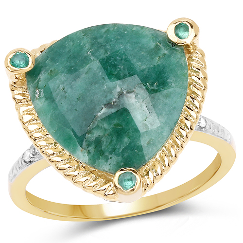 Emerald-14K Yellow Gold Plated 11.20 Carat Dyed Emerald & White Diamond .925 Sterling Silver Ring