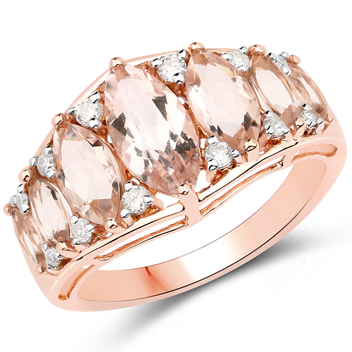 Rings-3.07 Carat Genuine Morganite and White Diamond 18K Rose Gold Ring
