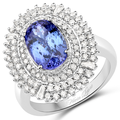 Tanzanite-14K White Gold 3.86 Carat Genuine Tanzanite and White Diamond Ring