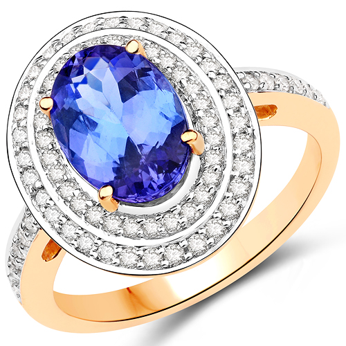 Tanzanite-14K Yellow Gold 2.80 Carat Genuine Tanzanite and White Diamond Ring
