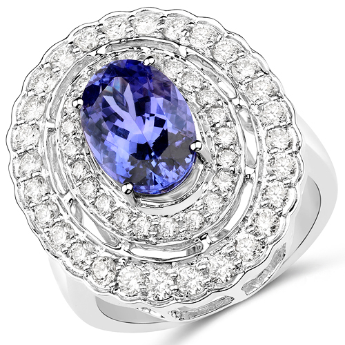 Tanzanite-14K White Gold 4.34 Carat Genuine Tanzanite and White Diamond Ring