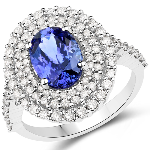 Tanzanite-14K White Gold 3.14 Carat Genuine Tanzanite and White Diamond Ring