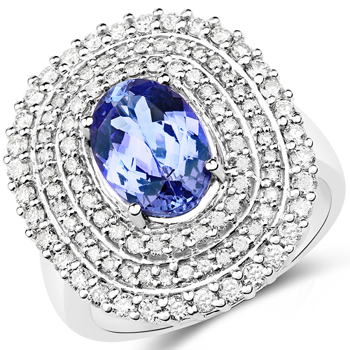 Tanzanite-14K White Gold 3.36 Carat Genuine Tanzanite and White Diamond Ring