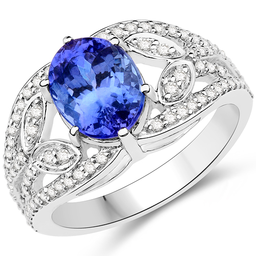 Tanzanite-14K White Gold 3.25 Carat Genuine Tanzanite and White Diamond Ring