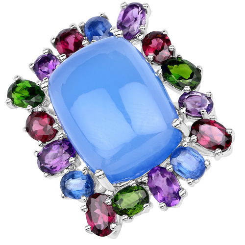 Amethyst-26.67 Carat Genuine Multi stones .925 Sterling Silver Ring