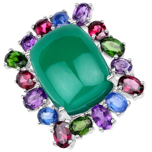 26.67 Carat Genuine Multi stones .925 Sterling Silver Ring