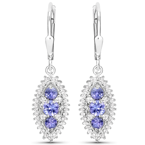 3.62 Carat Genuine Tanzanite and White Topaz .925 Sterling Silver 3 Piece Jewelry Set (Ring, Earrings, and Pendant w/ Chain)