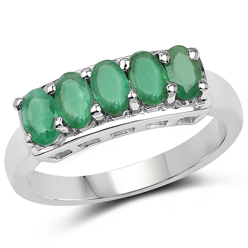 Emerald-1.00 Carat Genuine Emerald .925 Sterling Silver Ring