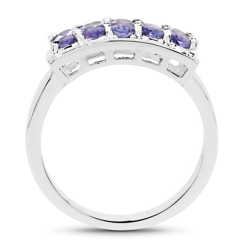 1.25 Carat Genuine Tanzanite .925 Sterling Silver Ring