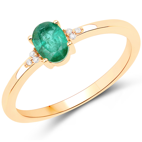Emerald-0.46 Carat Genuine Zambian Emerald and White Diamond 14K Yellow Gold Ring