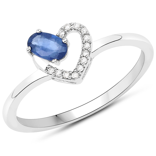 Sapphire-0.26 Carat Genuine Blue Sapphire and White Diamond 14K White Gold Ring