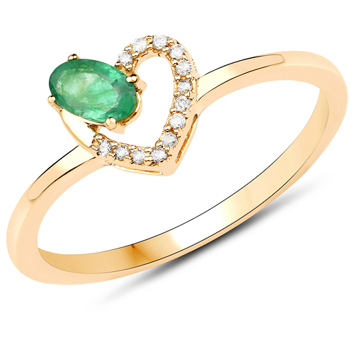 Emerald-0.23 Carat Genuine Zambian Emerald and White Diamond 14K Yellow Gold Ring