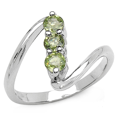 Sapphire-0.54 Carat Genuine Green Sapphire .925 Sterling Silver Ring
