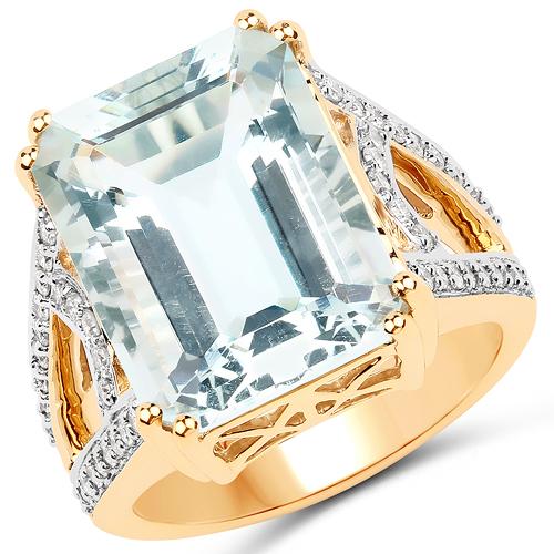 10.21 Carat Genuine Aquamarine and White Diamond 14K Yellow Gold Ring