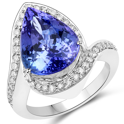 Tanzanite-8.20 Carat Genuine Tanzanite and White Diamond 14K White Gold Ring