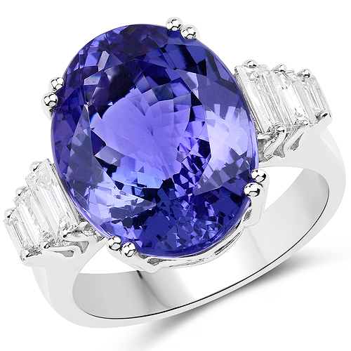 Tanzanite-13.95 Carat Genuine Tanzanite and White Diamond 18K White Gold Ring