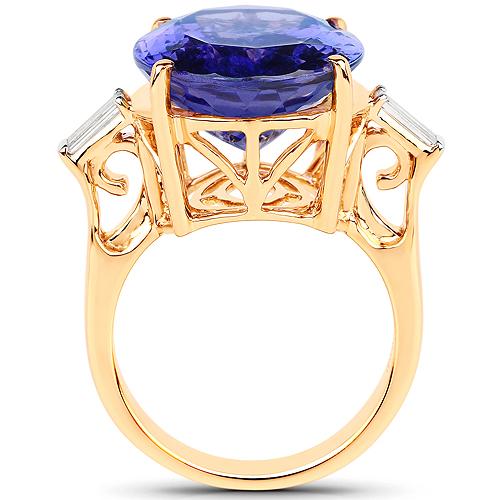 18.41 Carat Genuine Tanzanite and White Diamond 18K Yellow Gold Ring