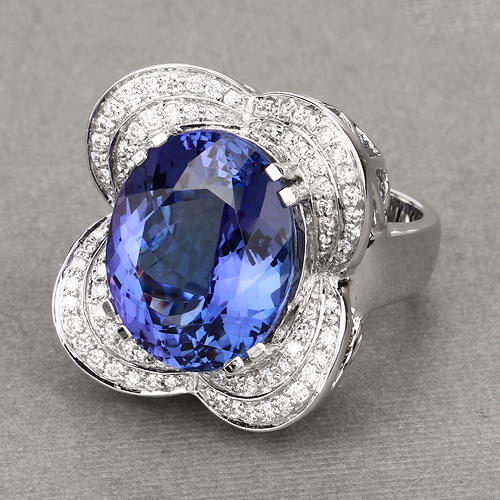 18.99 Carat Genuine Tanzanite and White Diamond 18K White Gold Ring