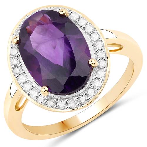 Amethyst-4.66 Carat Genuine Amethyst and White Diamond 14K Yellow Gold Ring