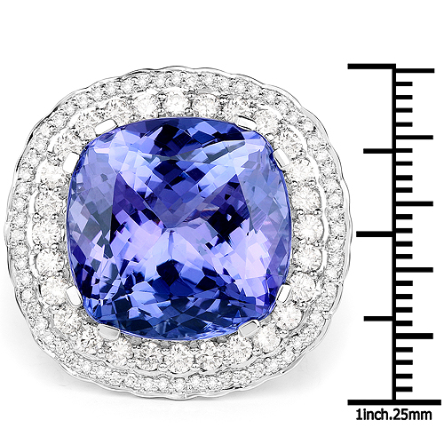 23.72 Carat Genuine Tanzanite and White Diamond 18K White Gold Ring