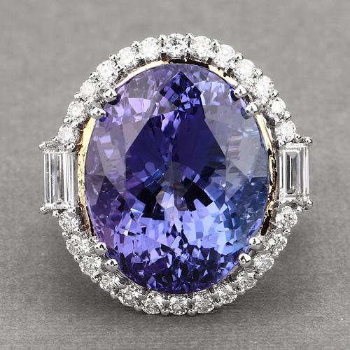 26.35 Carat Genuine Tanzanite and White Diamond 18K White Gold Ring
