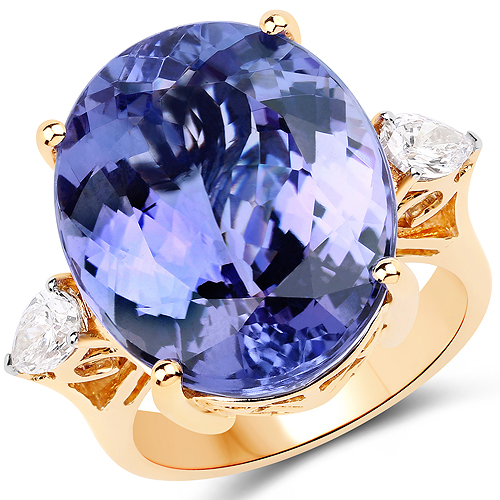 Tanzanite-22.95 Carat Genuine Tanzanite and White Diamond 18K Yellow Gold Ring