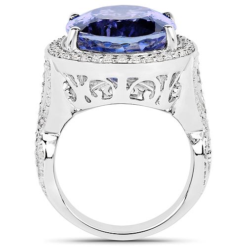 22.10 Carat Genuine Tanzanite and White Diamond 18K White Gold Ring