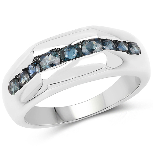 Sapphire-0.84 Carat Genuine Blue Sapphire .925 Sterling Silver Ring