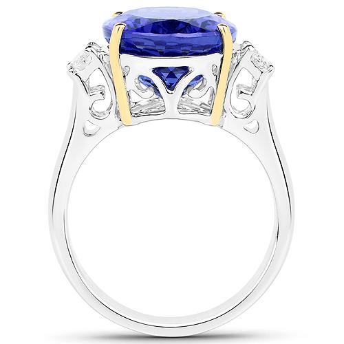 10.36 Carat Genuine Tanzanite and White Diamond 18K White Gold Ring