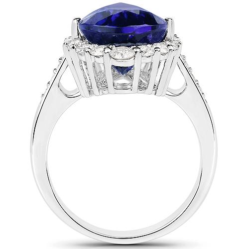 8.92 Carat Genuine Tanzanite and White Diamond 18K White Gold Ring