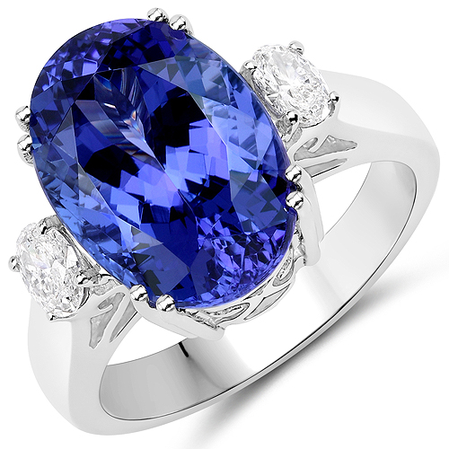 Tanzanite-9.57 Carat Genuine Tanzanite and White Diamond 18K White Gold Ring