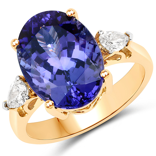 Tanzanite-8.64 Carat Genuine Tanzanite and White Diamond 18K Yellow Gold Ring