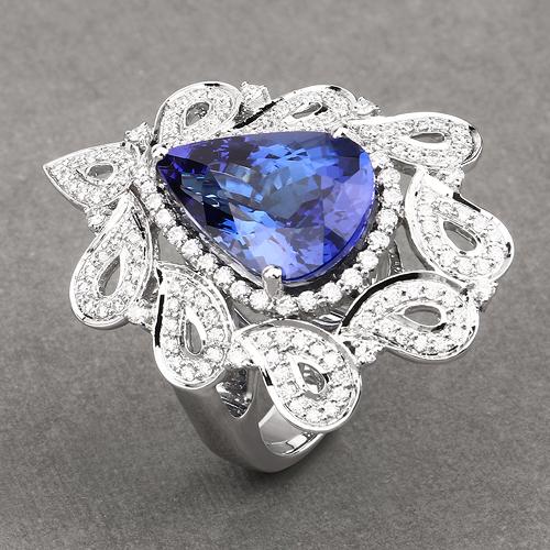 11.68 Carat Genuine Tanzanite and White Diamond 18K White Gold Ring