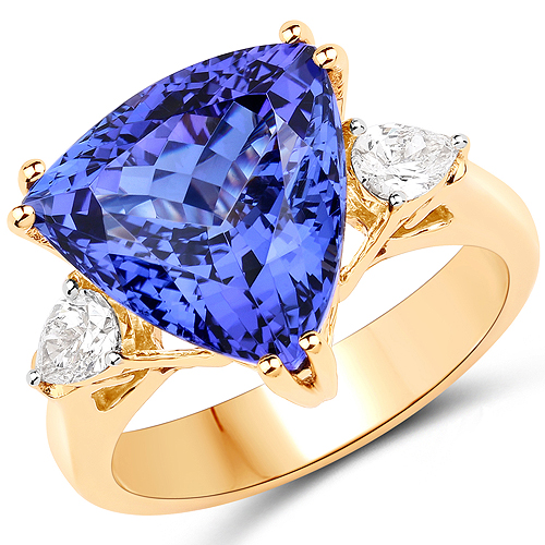 Tanzanite-9.24 Carat Genuine Tanzanite and White Diamond 18K Yellow Gold Ring