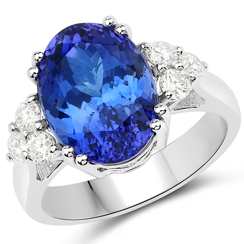Tanzanite-8.96 Carat Genuine Tanzanite and White Diamond 18K White Gold Ring