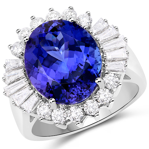 Tanzanite-10.91 Carat Genuine Tanzanite and White Diamond 18K White Gold Ring