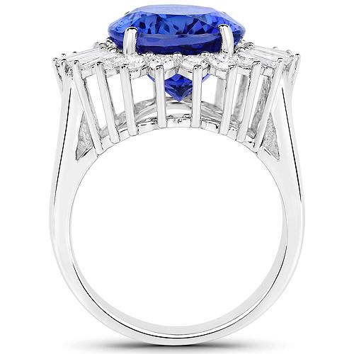 10.91 Carat Genuine Tanzanite and White Diamond 18K White Gold Ring