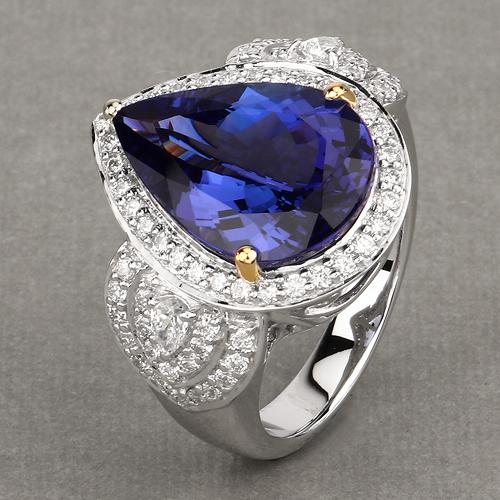 12.25 Carat Genuine Tanzanite and White Diamond 18K White Gold Ring