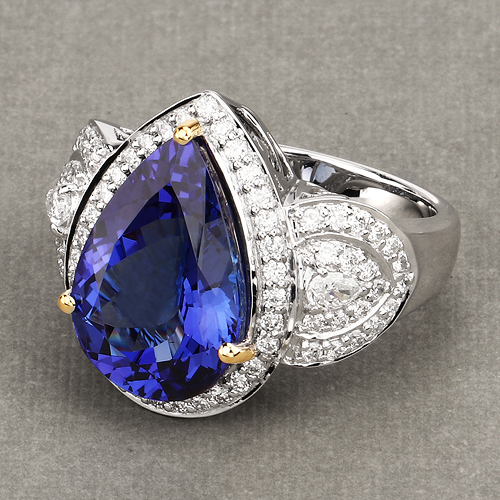 12.25 Carat Genuine Tanzanite and White Diamond 18K White Gold Ring