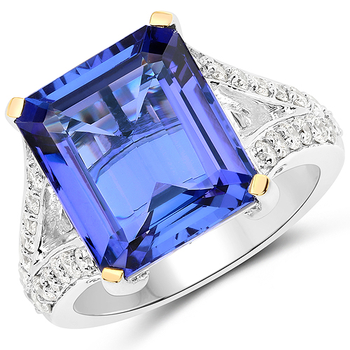 Tanzanite-11.37 Carat Genuine Tanzanite and White Diamond 18K White Gold Ring