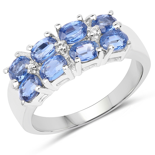 Rings-2.19 Carat Genuine Kyanite and White Topaz .925 Sterling Silver Ring