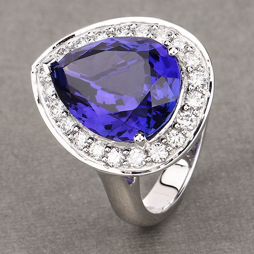 12.32 Carat Genuine Tanzanite and White Diamond 18K White Gold Ring