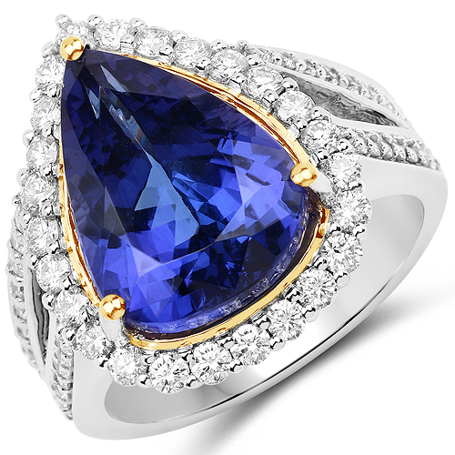 9.49 Carat Genuine Tanzanite and White Diamond 18K White Gold Ring