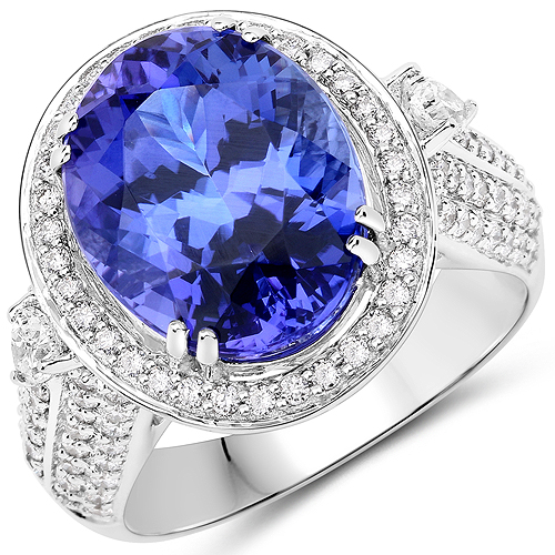 Tanzanite-11.01 Carat Genuine Tanzanite and White Diamond 18K White Gold Ring
