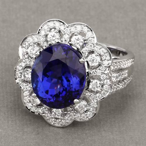 9.68 Carat Genuine Tanzanite and White Diamond 18K White Gold Ring