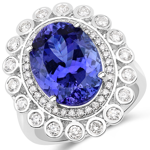 Tanzanite-9.60 Carat Genuine Tanzanite and White Diamond 18K White Gold Ring
