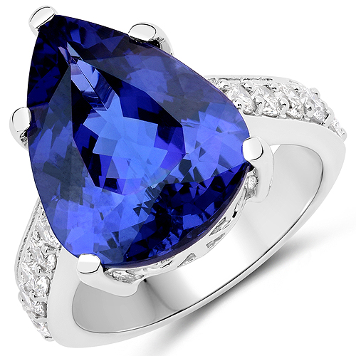 11.40 Carat Genuine Tanzanite and White Diamond 18K White Gold Ring