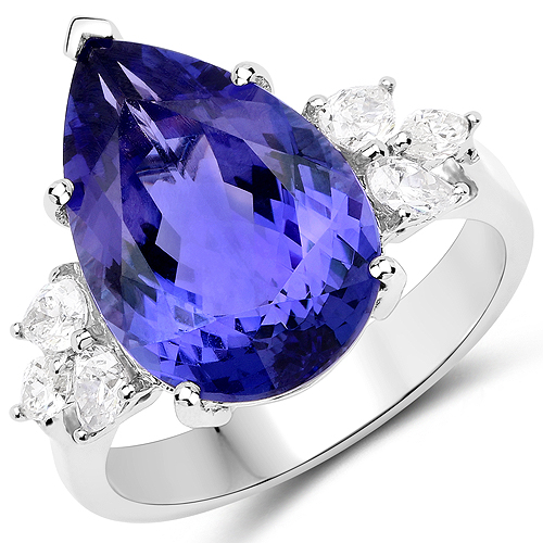 Tanzanite-9.26 Carat Genuine Tanzanite and White Diamond 18K White Gold Ring