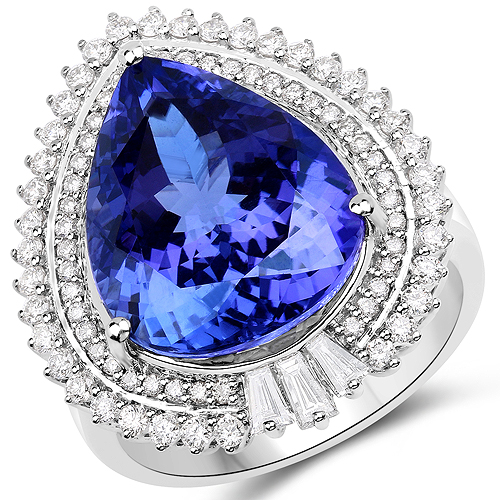 Tanzanite-11.92 Carat Genuine Tanzanite and White Diamond 18K White Gold Ring