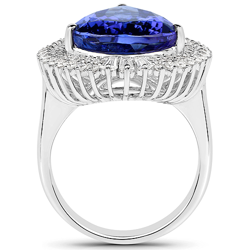 11.92 Carat Genuine Tanzanite and White Diamond 18K White Gold Ring
